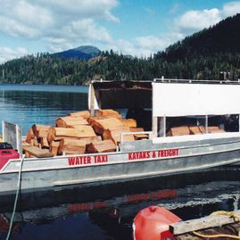 Boat loaded with wood